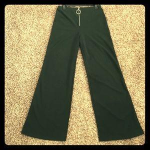 Dark green flare dress up pants
